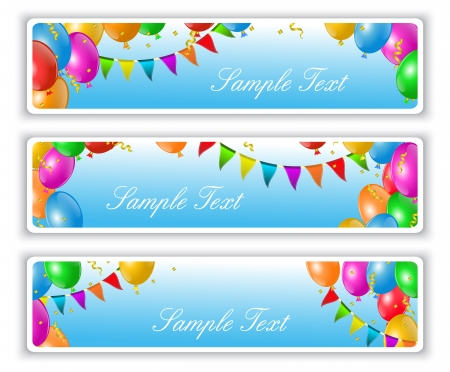 holiday banners with flags and colorful balloons