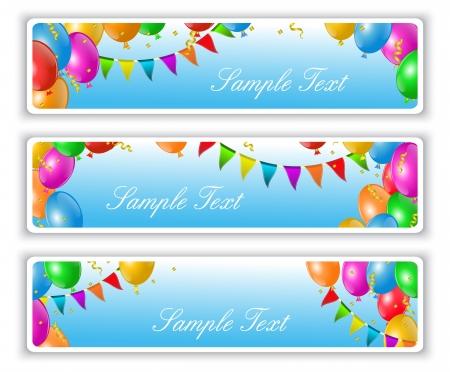 vakantie banners met vlaggen en kleurrijke ballonnen