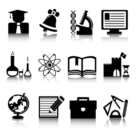 Set of black education icons on a white background Vector