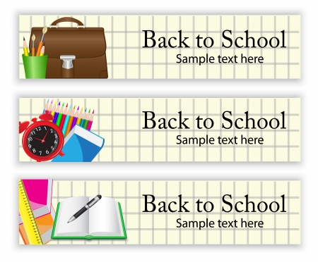 School banners with various school supplies on the   paper background