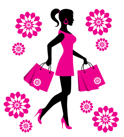 elegant female silhouette in a pink dress with flowers and packages