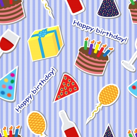 seamless striped background with a birthday cake, presents, balloons and caps Vector