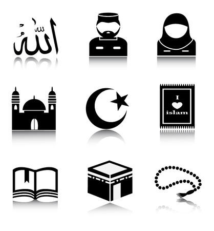 mosque: Set of black Islam icons on a white background