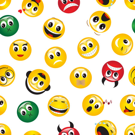 seamless pattern with yellow shiny emoticons on white background Vector