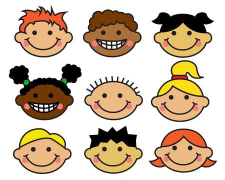 Cartoon Kinder Gesichter verschiedener Nationalitäten auf einem weißen Hintergrund