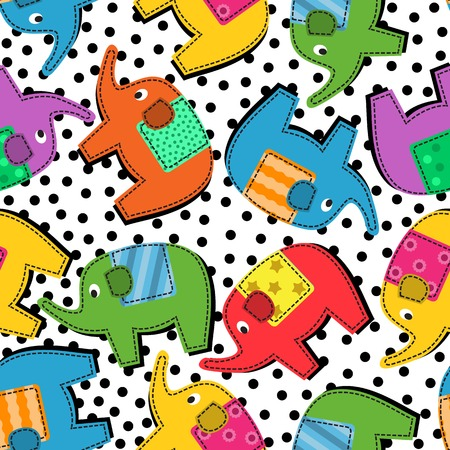 Seamless background with colorful elephants and black dots Vector