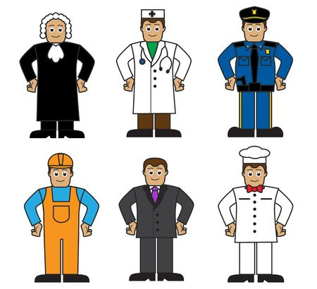 Cartoon set of people of different professions on a white background   Vector
