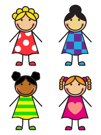 Set Cartoon girls of different nationalities on a white background Vector