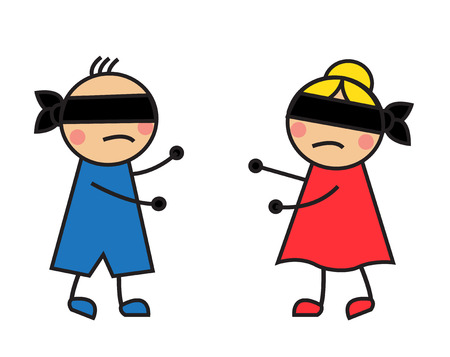 children only:   Cartoon children blindfolded seek each other and can not find