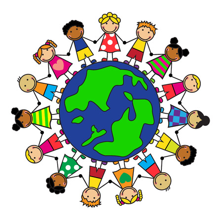 Cartoon children of different nationalities are on the planet holding hands