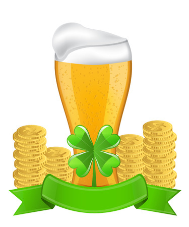 Beer, ribbon, four-leaf clover and golden coins image for St  Patrick s Day Vector