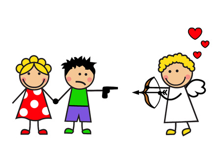 Cartoon cupid couple met  Cupid wants to shoot a bow, but the boy threatened him with a gun   Ilustração