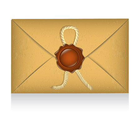 sealing wax: sealed envelope with sealing wax and rope Illustration