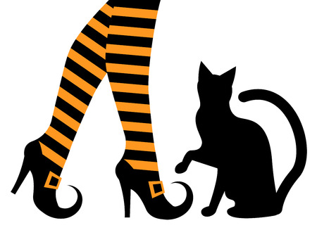 witches feet in striped socks and shoes and a black cat   Vector