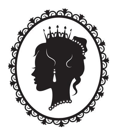 フレームに皇太子妃のプロファイル  イラスト・ベクター素材