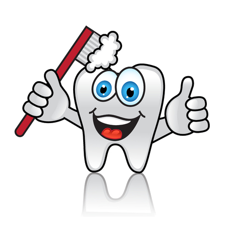 Cartoon tooth with toothbrush and happy face Stock Vector - 23202015