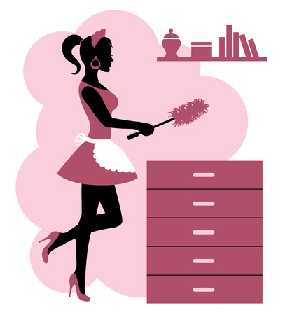 female silhouette in an apron makes cleaning the room Vector