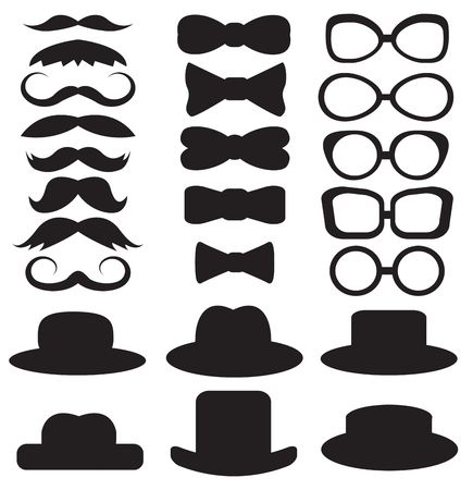 black tie: gentleman s set consists of a hat, glasses, mustache and bow ties Illustration
