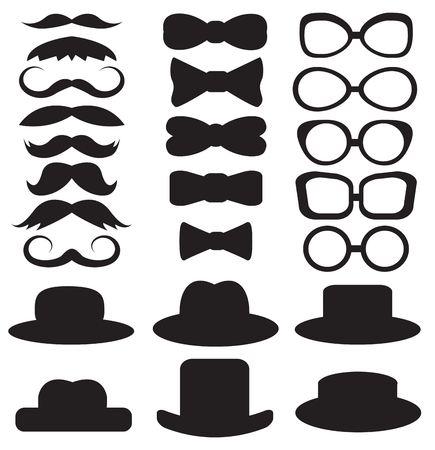 lazo negro: set caballero s consiste en un sombrero, gafas, bigote y pajaritas