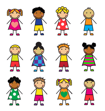 children group: Cartoon children of different nationalities on a white background