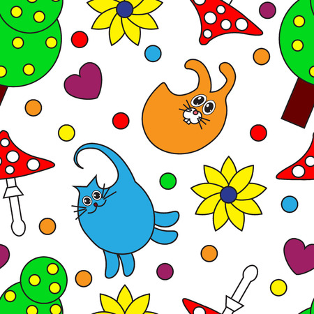 Cartoon seamless pattern with animals on a white background