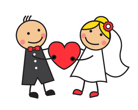 Cartoon bride and groom are holding heart