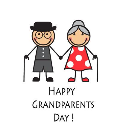 白い背景の上の杖を持つ漫画祖父母