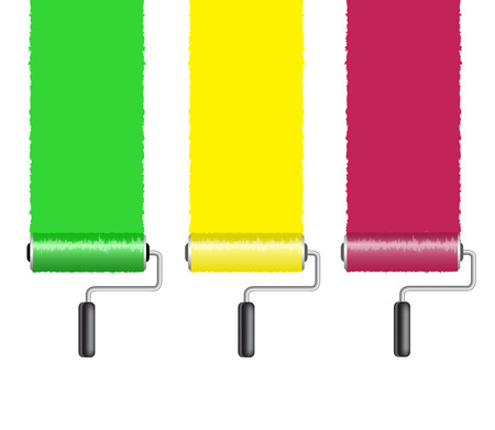 paintroller: vertical stripes left by a roller with paint on a white background Illustration