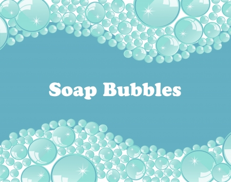 foam bubbles: Foam bubbles on a pale blue background Illustration