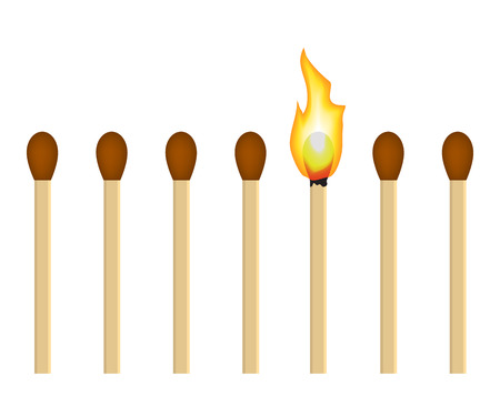 series matches on a white background  it burns out of matches Stock Vector - 23903952