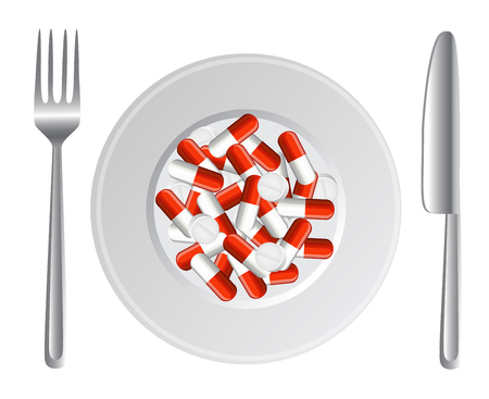 narcotics:   plate with a bunch of capsules and tablets  Next to them are fork and knife