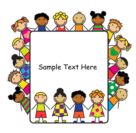 Cartoon children of different nationalities and white poster for the text
