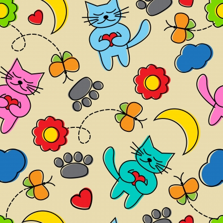 Bright seamless pattern Cartoon cats, butterflies, flowers and other elements   Vector