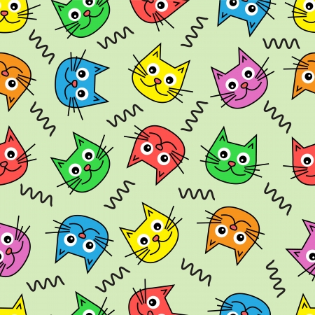 Seamless background with colorful cat s muzzles on a green background   Illustration