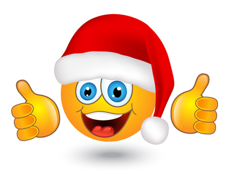 smiley pouce: jaune ronds d'�motion brillant � Santa chapeau sur fond blanc