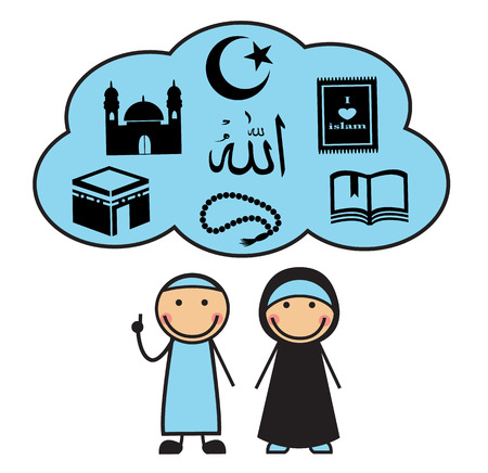 saudi: Cartoon man and woman and cloud with the symbols of Islam