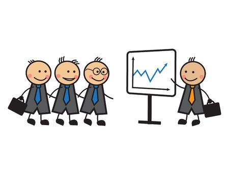 Cartoon businessmen in ties at the presentation Vector Illustration
