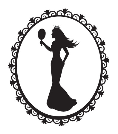 woman in mirror: princess silhouette in a long dress and a crown in the patterned frame   Illustration