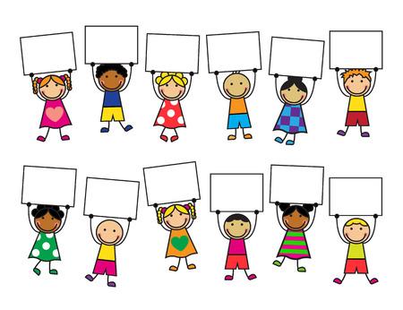 Niños de dibujos animados en ropas brillantes con pancartas en sus manos