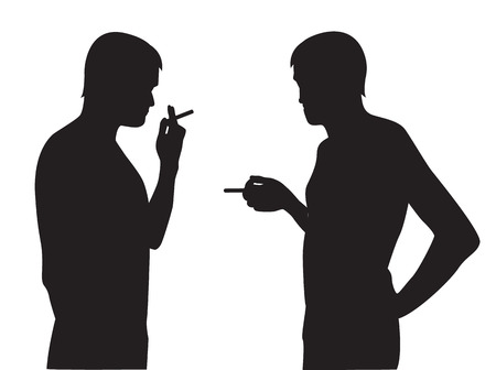 smoking a cigar:   Two silhouettes of smoking men on a white background