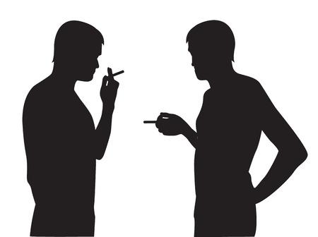 smoking man:   Two silhouettes of smoking men on a white background