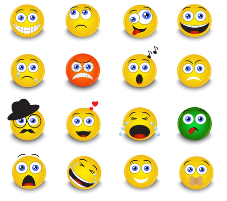 set of round yellow emoticons on white background