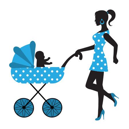 niño empujando: silueta de una mujer con un bebé en un cochecito Vectores