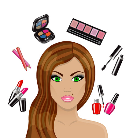 make up woman:   Cartoon beautiful woman and various cosmetics and personal care