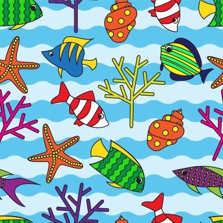 bunter fisch: nahtlose Muster mit bunten Fischen und Korallen auf wellig Hintergrund Illustration