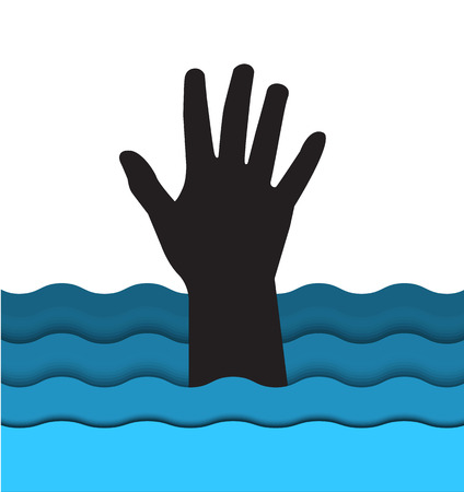 sea disaster: silhouette hand drowning man sticking out of the water