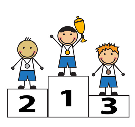 awarded: Cartoon men stand on the podium winners  Children were awarded medals and cups Illustration