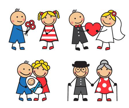celebrate life: Familia amable y feliz de dibujos animados sobre una fecha para la boda, despu�s del nacimiento del ni�o s y edad