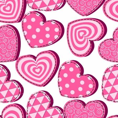 'retro styled': seamless pattern with pink hearts Valentines Day