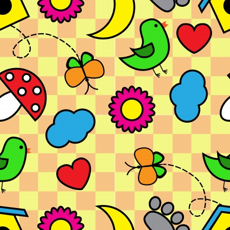 Bright seamless pattern with Cartoon animals and plants and other elements Vector